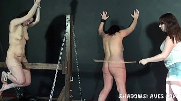 Lesbian spanking and extreme bondage of two english amateur slave girls