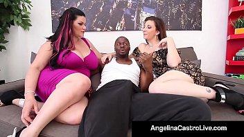 Cuban Queen Angelina Castro & Sara Jay Blow A Big Black Dick