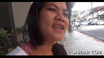 Mischievous asian teen reveals her curly twat ready for sex
