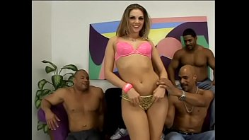 Four horny black dudes let young brunette white chick Brianna Love to feel the power of black poles