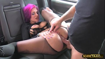 Messy cutie goth tries ass slamming in the taxicab