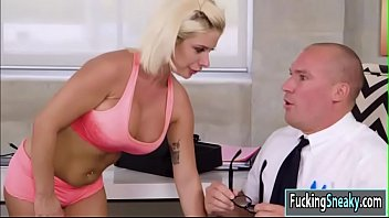 Busty Sara sucks dick behind her stepdad