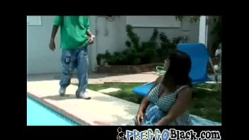 Pregnant ebony is having fun getting dicked down by the pool-hi-1