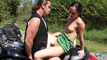 Wild outdoor fuck on motrbike with horny brunette