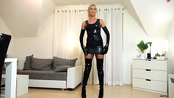 Hot german blonde in latex suit fucks slave after domination