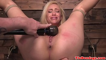 Cordless concrete vibrator - Blonde bdsm sub punished with vibrator toying