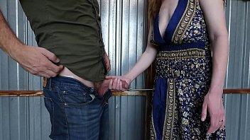 Skinny Redhead Wants Cum in Her Panties Outside