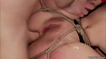 Anal slaves service hard dick at party