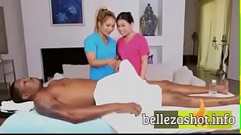 asian masseuse jerks guy in tub with her feet