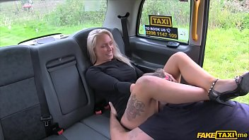 Hot blonde gives head and gets a quick anal in a cab