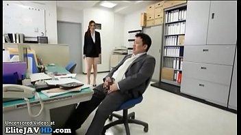 Japanese secretary has sex with horny office guy
