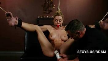 Shaved pussy bondage masturbation