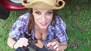 Sexy trunk Busty stranded teen cowgirl banged in a trunk