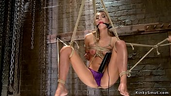 Blonde gets vibrated in suspension