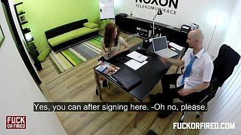 Redhead slut offers anal twice to keep her job