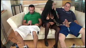 Handjobs help Naughty babe helps two guys spurt their loads