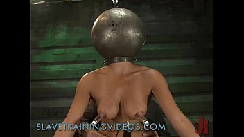 Busty brunette babe has been punished and pussy fucked by dildo