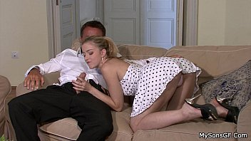 Hot Blonde Rides Her BF's Dad Cock