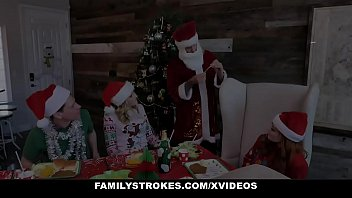 FamilyStrokes - Big Tits Stepmom And Cute Daughter Share Hardcore Sex For Christmas