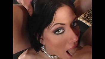 Salacious hottie with raven hair Dillen Laureen prefers when two horny fellows bang her fucking holes together