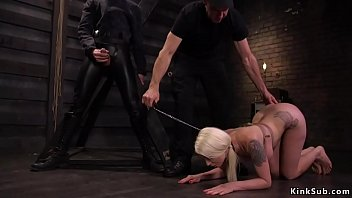 Busty tied up blonde anal fucked