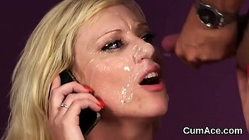 Extreme facial loads Naughty idol gets sperm load on her face eating all the jizm