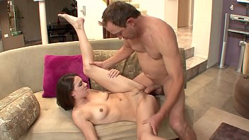 Brunette Aubrey Lee with little pussy takes a big cock fucking her pink pussy