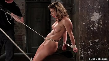 Busty brunette squirting in hogtie