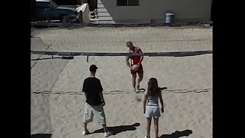 Amateur volleyball players having fun after the game with nasty students Kalani and Velvet Rose under the sun