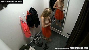 Girl strips in dorm room Voyeur two security cams in changing room