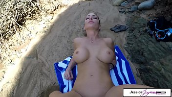 Jessica Jaymes gets fucked outside in the beach by a huge cock, big boobs and big booty