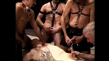Gay leather sex moviw Cock sucking gay dude gets fucked in gang bang and jizzzed