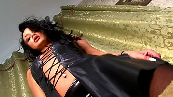 Leather Dress Revealing All, Hot Tight Pussy with Piercing