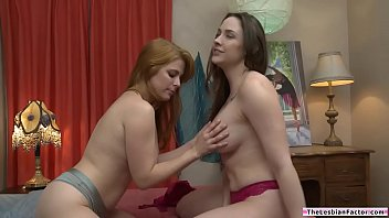 Dyke redhead making out with busty bff