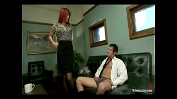 Tranny seducing and fucking the salesman ass