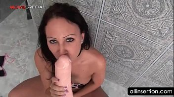 Small titted bitch self fucks twat with huge dildo