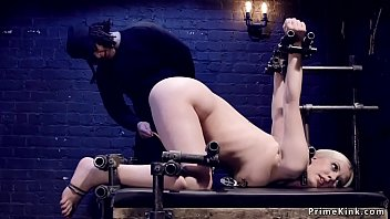Hot ass blonde caned in device bondage