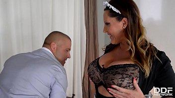 Extra busty maid Laura Orsolya gets her gigantic titties & ass fucked deep