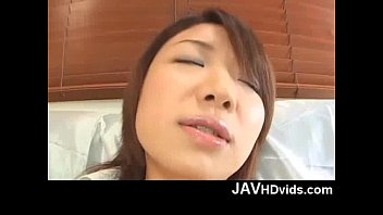 Japanese teen Mitsu Anno turned on by a vibrating huge dildo
