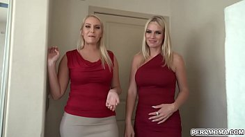 Gorgeous blonde MILFs Rachael Cavalli and Vanessa Cage both shared with Rachels stepsons dick fucking him in a super sexy cum swapping threesome.