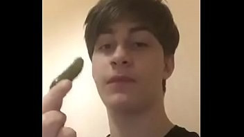 young transgender boy sucks  cucumber so hot