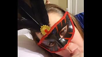 Karen Beazley sucks my dick in madi gras mask