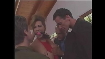 Hot brunette MILF with perky tits Mandy Bright blows three guys and takes cumshot
