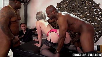Swinger couple with 2 big black cocks