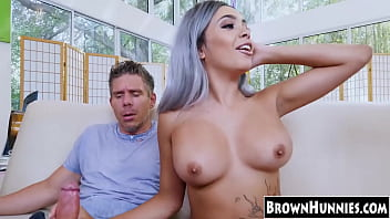 Busty beauty Aaliyah Hadid DP fucked by two horny white guys