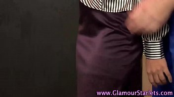 Satin pantie handjob - Glam clothed ho eats cum