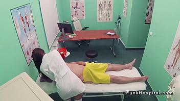 Nurse massages doctor before sex