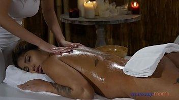 Massage Rooms Hot Latina Venus Afrodita licking sexy Asian Sharon Lee