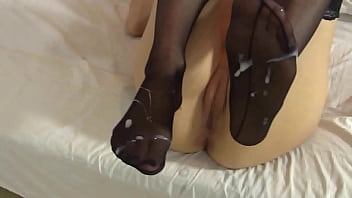 Pantyhose feet - Lelulove stockings footjob with cumshot