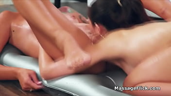 Dude turns lesbian massage to a threesome